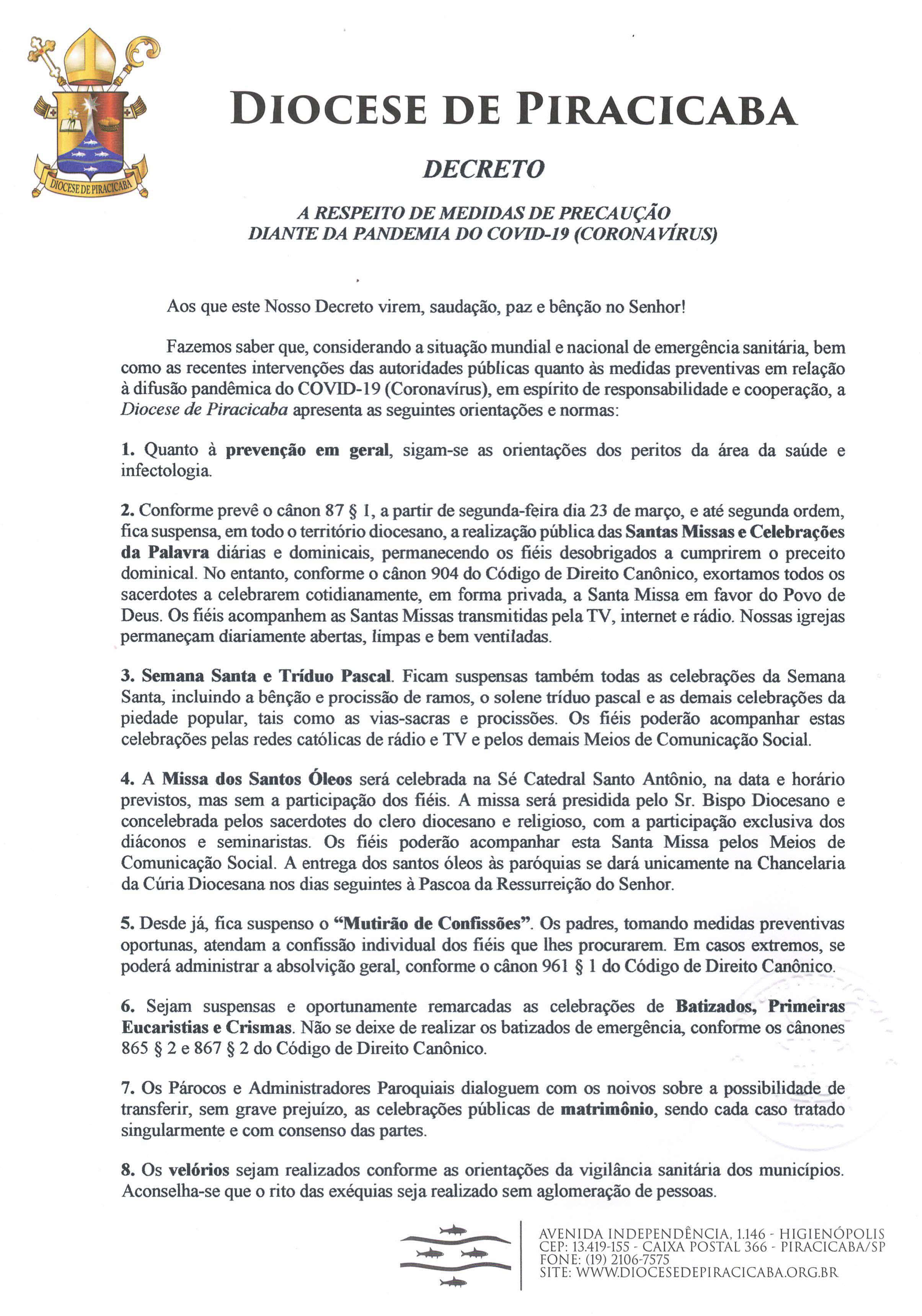 DECRETO - A respeito de medidas de precaução diante da pandemia do Covid-19 (Coronavírus)-1