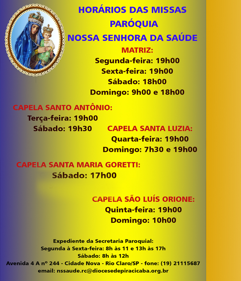 horario das missas